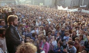 "Demonstration in Plauen vor der ""Wende"" 1989, Foto:"